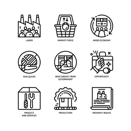 Market Economy icons set Vectores
