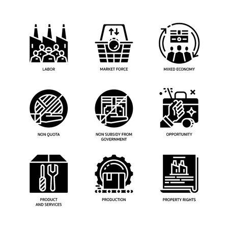 Market Economy icons set Ilustrace