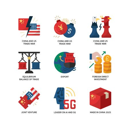 China and US trade connection icon set Illustration