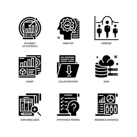 Statistical Analysis icons set Ilustração