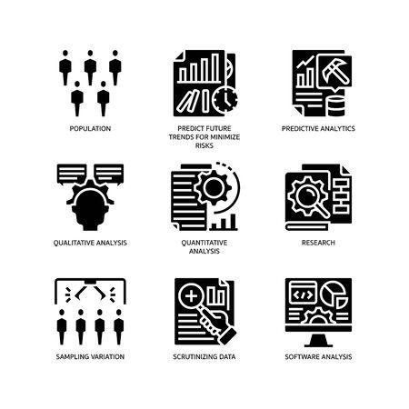 Statistical Analysis icons set Ilustrace