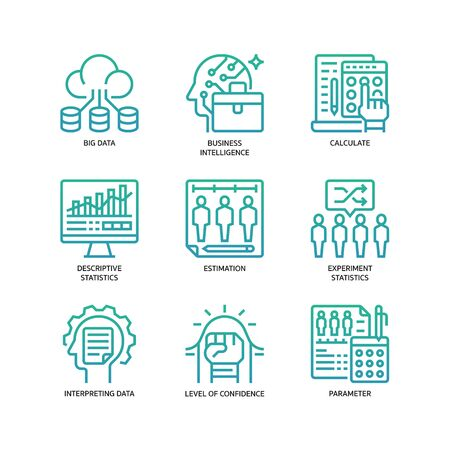 Statistical Analysis icons set Vetores