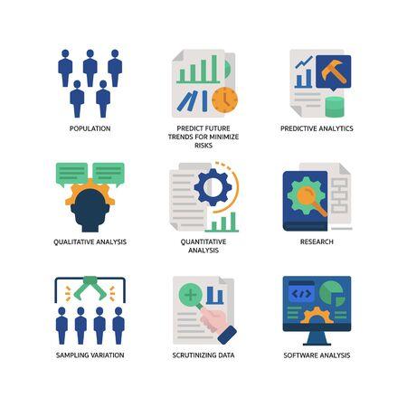 Statistical Analysis icons set Illustration
