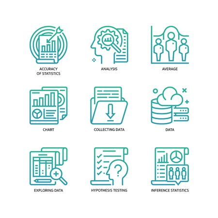 Statistical Analysis icons set  イラスト・ベクター素材