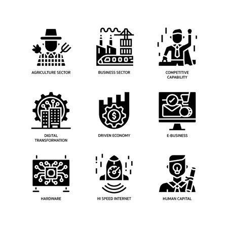 Digital Economy icons set Illustration