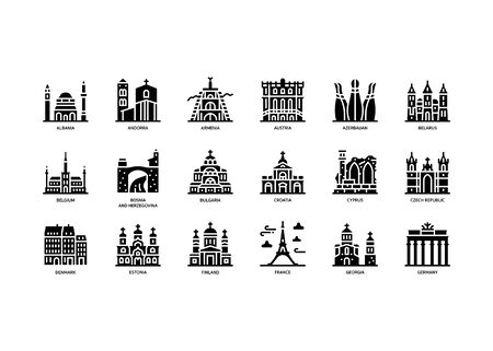 European cities landmarks icons set Ilustracja