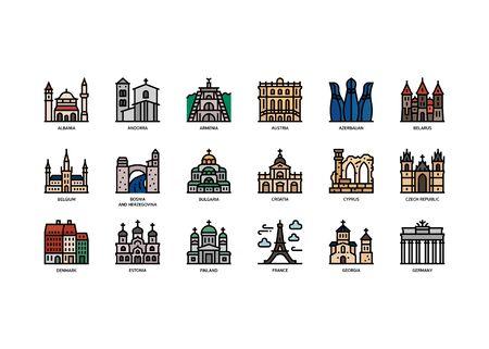 European cities landmarks icons set  イラスト・ベクター素材