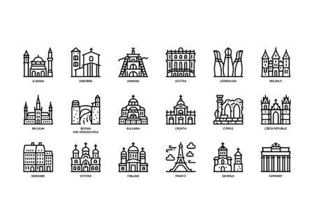 European cities landmarks icons set Vectores