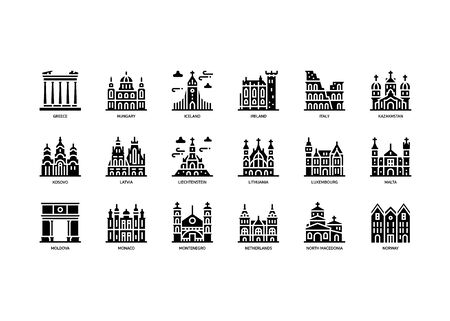 European cities landmarks icons set Stock Illustratie