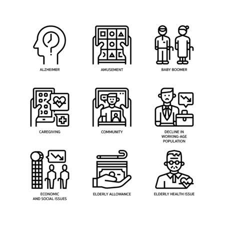 Ageing Society icons set on white