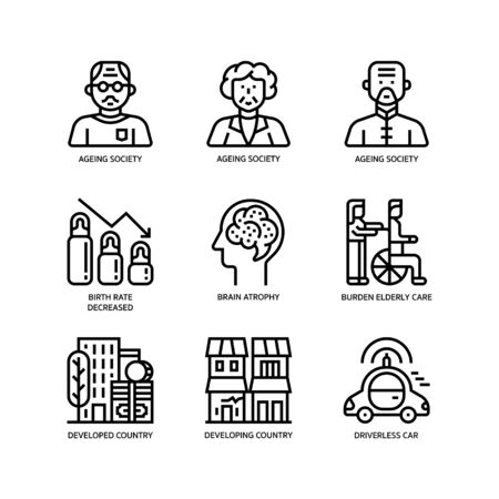 Ageing Society icons set on white
