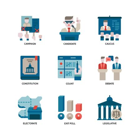 Election icons set Vector Illustratie