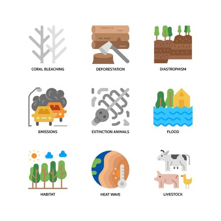 Climate Change icons set