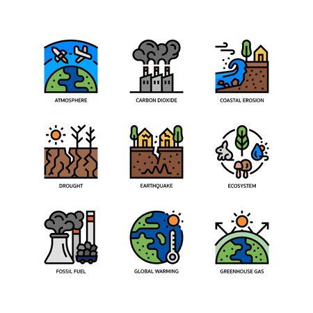 Ensemble d'icônes de changement climatique Vecteurs