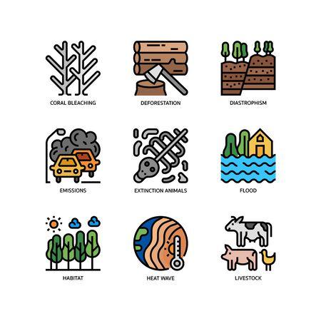 Ensemble d'icônes de changement climatique