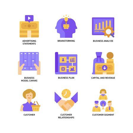 Business model canvas icons set Ilustração