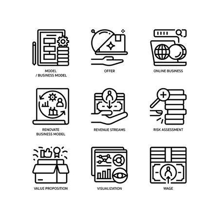 Business model canvas icons set