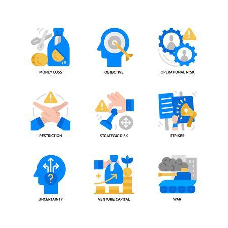 Business risks icons set