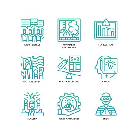 Business risks icons set