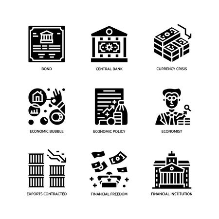 Economic crisis icons set