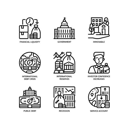 Economic crisis icons set