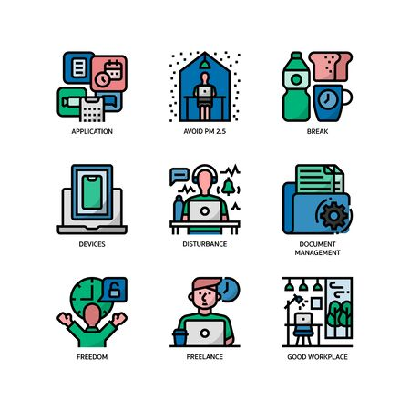 Work from home icons set