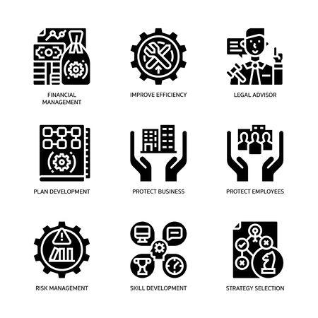 Set di icone del piano di continuità aziendale