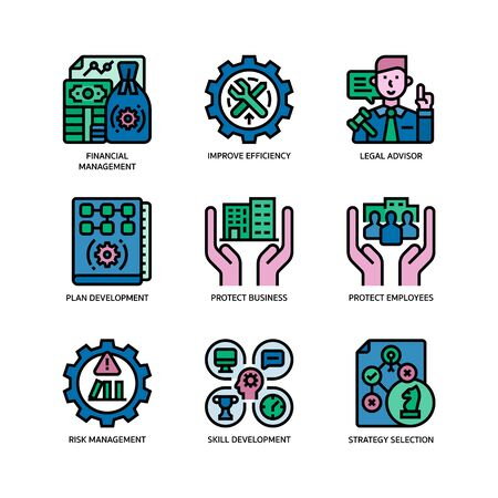 Business continuity plan icons set Illustration