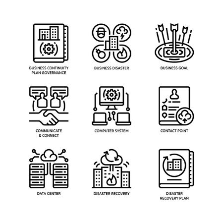 Business continuity plan icons set