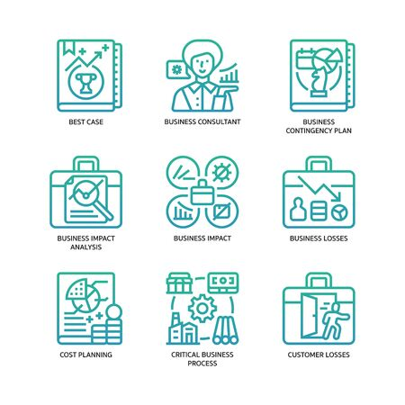 Business continuity plan icons set Vettoriali