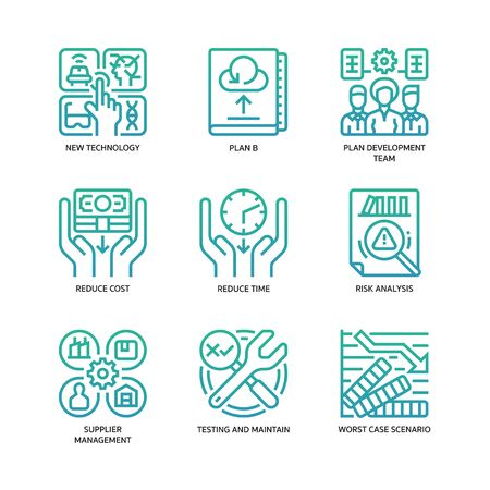 Business continuity plan icons set Illustration