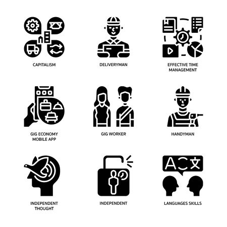 Gig economy icons set Illustration