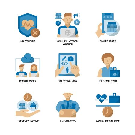 Gig economy icons set Vecteurs