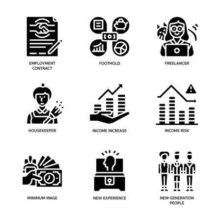Gig economy icons set