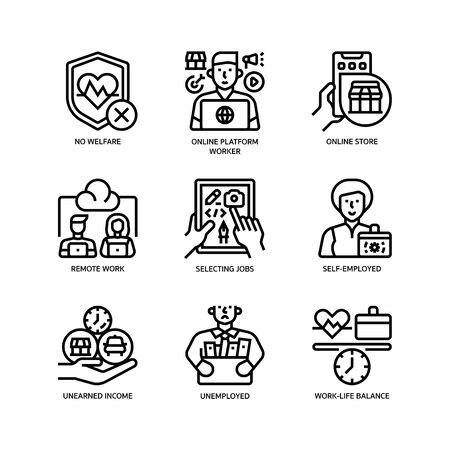 Gig economy icons set Illustration