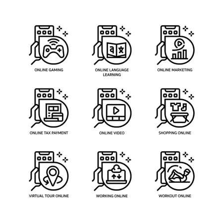 Online activities icons set Stock Illustratie