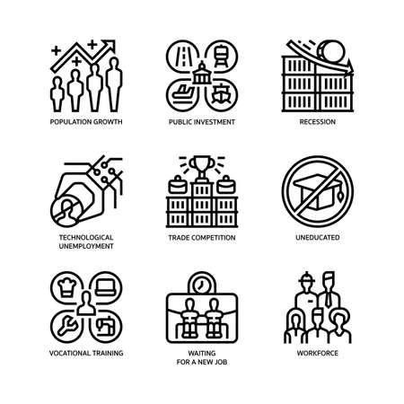 Unemployment icons set