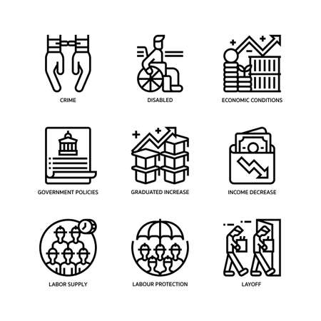 Unemployment icons set Vektorové ilustrace