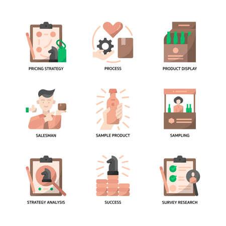 Marketing strategy icons set