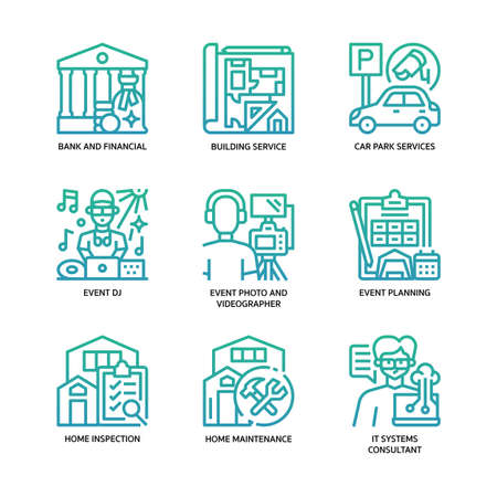 Services business icons set