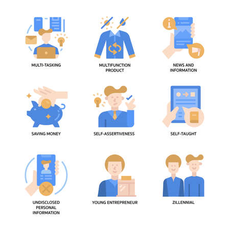 Generation Z Icons Set Vectores
