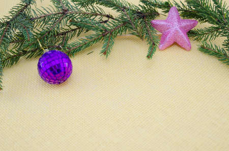 chirstmas: Purple Chirstmas ornament,pink star and a pine branch Stock Photo
