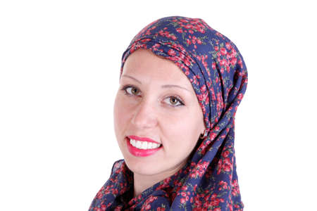 religious clothing: Beautiful Caucasian girl wearing a hijab isolated on white background