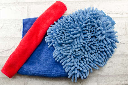 Blue and red microfiber dust wiping rags