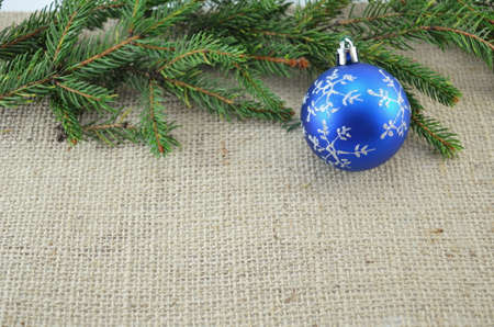 chirstmas: Blue Chirstmas decoration and a pine branch Stock Photo