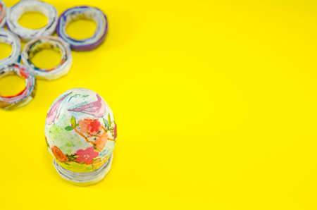 decoupage: Hand painted decoupage Easter egg with flower and bird patterns