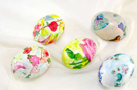hand colored: Bunch of coulourfull hand colored Easter eggs on white