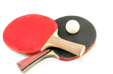 Two ping-pong rackets and a ball isolated on white 版權商用圖片 - 41390190