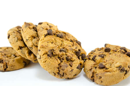 buch: Buch of chocolate chip cookies isolated Stock Photo