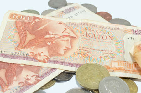 greek currency: Old Greek currency drachma banknotes on white background Stock Photo